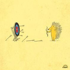 Porcupine practices his archery skills...practice makes perfect!