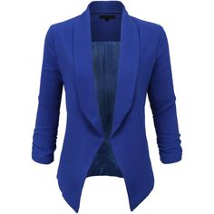 LE3NO Womens Textured 3/4 Sleeve Open Blazer Jacket (34 AUD) ❤ liked on Polyvore featuring outerwear, jackets, blazers, tops, blue jackets, 3/4 sleeve jacket, blue blazers, blazer jacket and blue blazer jacket