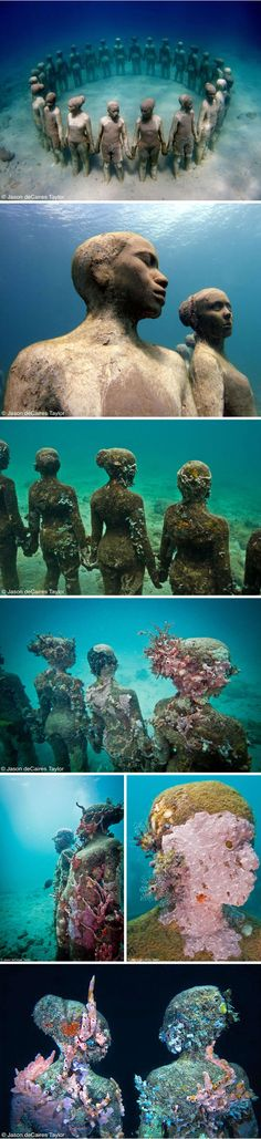 I love everything about this. Vicissitudes by Jason deCaires Taylor Also must go to the underwater museum in Cancun
