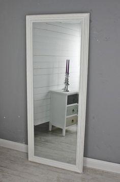 Spiegel weiß Landhaus 150x60cm Holz Wandspiegel barock Badspiegel Standspiegel in Möbel & Wohnen, Dekoration, Spiegel | eBay