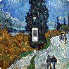 """Rikki KnightTM Van Gogh Art Van Gogh Country Road in Provence - Single Toggle Light Switch Cover by Rikki Knight. $13.99. Masonite Hardboard Material. Washable. For use on Walls (screws not included). 5""""x 5""""x 0.18"""". Glossy Finish. The Van Gogh Art Van Gogh Country Road in Provence single toggle light switch cover is made of commercial vibrant quality masonite Hardboard that is cut into 5"""" Square with 1'8"""" thick material. The Beautiful Art Photo Reproduction is print..."""