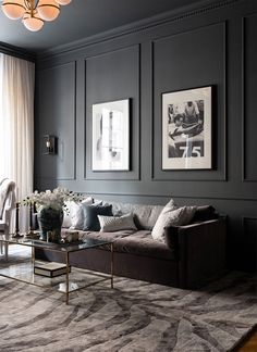 Despite a modest area of sqm, the designers were not afraid to use a rather dark color scheme as the basis for the design of this one-bedroom ✌Pufikhomes - source of home inspiration Dark Living Rooms, Living Room Interior, Home Living Room, Home Interior Design, Living Room Designs, Living Room Decor, Black Living Room Furniture, Modern Living Room Design, Modern Interior