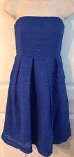 J CREW Blue Strapless Seersucker Dress Size 8 Fit & Flare Cotton Lined
