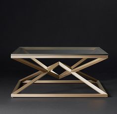 RH Modern's Empire Square Coffee Table:A dynamic double pyramid is the striking centerpiece of our table. An interpretation of a classic X-brace design, its tubular metal base supports a clear glass top that shows off its distinctive geometric form. Painted Coffee Tables, Brass Coffee Table, Coffee Table Design, Modern Square Coffee Table, Modern Side Table, Welded Furniture, Table Furniture, Nyc Coffee Shop, Coffee Machines For Sale