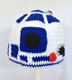 R2D2 Crochet Hat, Starwars White and blue, Include desired size newborn-adult on Etsy, $25.00