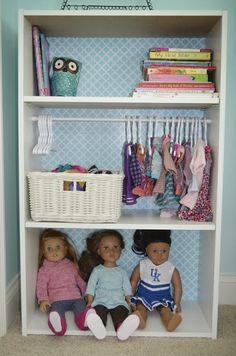 Kids Clothes Storage Ideas American Girl Dolls Ideas For 2019 Casa American Girl, American Girl Storage, American Girls, Clothes Hanger Storage, Kids Clothes Storage, Clothing Storage, Diy Clothes, Doll Clothes Hangers, Girl Doll Clothes