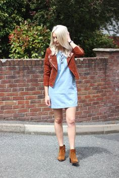 Denim lace up dress, suede jacket and suede ankle boots - fashion blog street style with platinum blonde hair