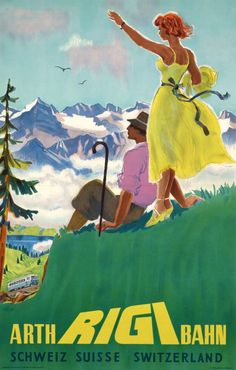 Arth Rigi Bahn, Switzerland vintage travel poster