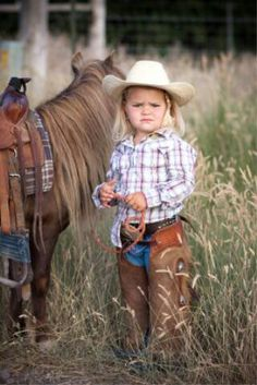 Country Kids - Cowgirl and her pony.