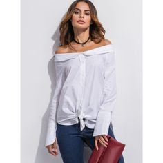 SheIn(sheinside) White Off The Shoulder Super Long Sleeve Shirt ($14) ❤ liked on Polyvore featuring tops, long sleeve tops, off shoulder long sleeve top, button collar shirt, white long sleeve shirt and collared shirt