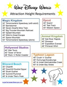 Walt Disney World Attraction Height Requirements for kids visiting Disney