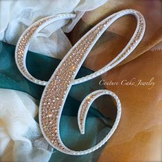 Crystal Covered & Pearl Bordered Single Monogram Cake Topper #pearlcaketopper #swarovski  by CoutureCakeToppers on Etsy
