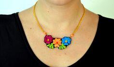 Collar Bordado - Flores Coloridas - Estilo Boho