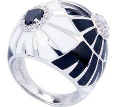 Dandelion black and white enamel ring