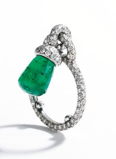 Platinum, Briolette Emerald and Diamond Ring, Jar, Paris - Sotheby's