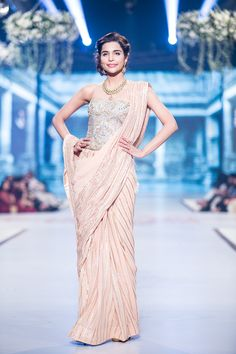 Sari by Faraz Manan at PBCW 2014...Gorgeous silhouette & fabric. Pick 1-3 details that fit your wedding theme. Work with your seamstress to achieve this look.