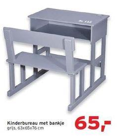 Kinderbureau met bankje. Deze was in voorjaar 2012 van Leen Bakker (ja echt), 63 x 65 x 76 cm. Niet meer te koop?