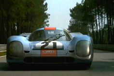 Le Mans 1970 Porsche 917K: The greatest Porsche of them all running full speed down the Mulsanne Straight with McQueen at the wheel. Then he destroys it in a spectacular wreck