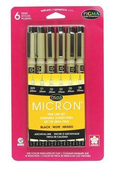 AmazonSmile: Sakura 30062 6-Piece Pigma Micron Ink Pen Set, Black [7/20/16 - $10.64 at amazon smile ADH]