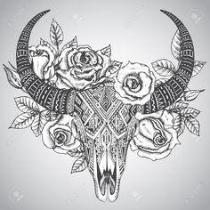 """Résultat de recherche d'images pour """"rose et crane tattoo"""""""