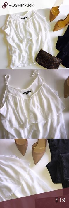 Gianni Bini Blouse White and sheer GB Blouse. Paired in picture with outfit. Perfect conditions. Flowy and comfortable   •Pet Free / Smoke Free •SHIPS NEXT DAY  💰 Reasonable OFFERS considered 💰 Gianni Bini Tops Blouses