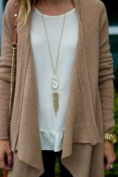 fall outfit | love the tassel necklace!