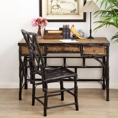 Bamboo Desk & Chair Natural & Black Styled