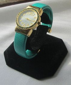 Gorgeous Turquoise & Gold Large Faced Spring Band Women's Bangle Cuff Watch #Unbranded #Fashion