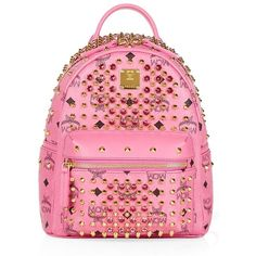 MCM Mini Diamond Visetos Backpack ($1,965) ❤ liked on Polyvore featuring bags, backpacks, backpacks bags, pink bag, pink mini backpack, structured bag y bear backpack