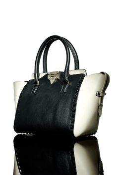 Valentino's take on black and white studded handbags: The Rockstud Bicolor Shopper Tote Bag
