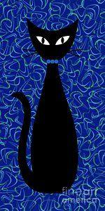 Black Cat Digital Art - Boomerang Cat In Blue by Donna Mibus