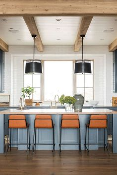 studiomcgee_SMRanchHouse, medium blue kitchen cabinets, white walls, and black pendant lights make this kitchen a rustic standout! Beautiful Kitchen Designs, Beautiful Kitchens, Cool Kitchens, Blue Kitchen Cabinets, Kitchen Paint, Kitchen Decorating, Modern Lake House, Studio Kitchen, Studio Mcgee