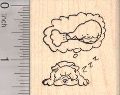 Bulldog Dreaming of Thanksgiving Turkey Leg Rubber Stamp, Dog (E18917) $8 at RubberHedgehog.com