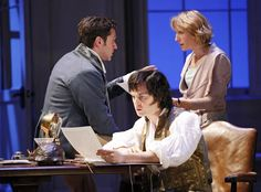 Raul Esparza as Valentine Coverly, Tom Riley as Septimus Hodge and Lia Williams as Hannah Jarvis in Arcadia.