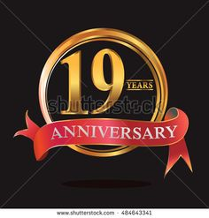 19 years anniversary golden logo with ring and soft red ribbon