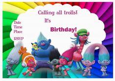 Trolls Holiday Birthday Invitations – Birthday Printable