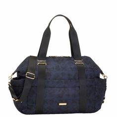STORKSAK SANDY NYLON DIAPER BAG SET - NAVY PRINT  http://www.duematernity.com/storksak-sandy-nylon-diaper-bag-blue.html