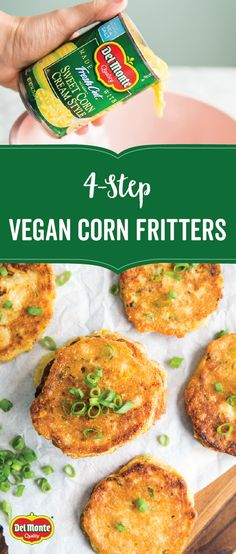Say hello to a fun, simple, and savory new dish to try this fall! Say hello to a fu Creamed Corn Fritters Recipe, Cream Corn Fritters, Vegan Corn Fritters, Sweet Corn Fritters, Corn Fritter Recipes, Creamed Corn Recipes, Veggie Recipes, Whole Food Recipes, Vegetarian Recipes