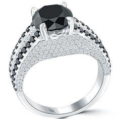 4.23 Carat Certified Natural Black Diamond Engagement Ring 18k White Gold - Black Diamond Engagement Rings - Engagement