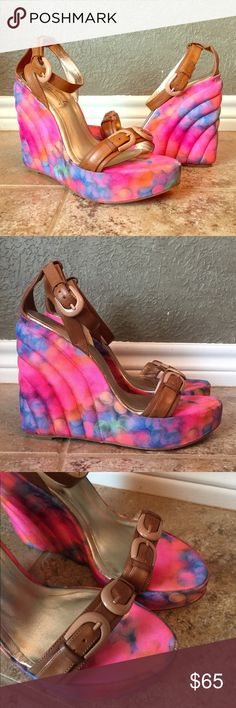 """Miss Trish Brown Leather & Multi Color Wedge Gorgeous Miss Trish Wedges! Tan leather straps with multi colored fabric wedges! NWOT, never worn. Approximately 5"""" wedge with 1.5"""" covered platform. Stunning and unique shoe! Miss Trish Shoes Wedges"""