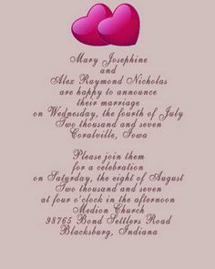 Couple Hosting Marriage vows Invitation wording and Wedding