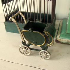 Antique Cast Iron Toy Baby Doll Carriage