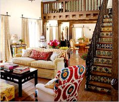 katheryn ireland living room tiled stair risers -love the stairs! This is SO my style... my family would love it!