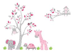 Nursery Wall Decals Pink Animal Wall Decals by NurseryDecals4You.  https://www.etsy.com/listing/268813929/nursery-wall-decals-pink-animal-wall?ref=shop_home_active_56 $184.95