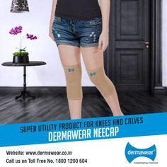 NEECAP with advantage of gradual compression improves the venous blood flow, which in turn helps relieving pain & discomfort in the knee. Neecap can also be worn as a calf support for muscular pain or to avoid muscle cramp.  #utilitywear #dermawearshapewear  Rs. 390 only! Visit: www.dermawear.co.in