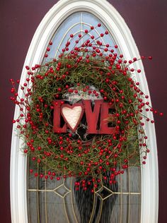 "Valentine's Day Grapevine Door Wreath Decor..""Love Berries""."