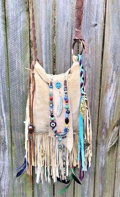 Bags & Handbag Trends : Handmade Tan Leather Faux Fur Fringe Bag Hippie Festival Boho Gypsy Purse B. Hippie Bags, Boho Bags, Gypsy Bag, Boho Gypsy, Tribal Bags, Diy Clothes Videos, Joy Clothing, Fringe Bags, Leather Bags Handmade