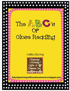 Teachers here is a freebie just for you on Close Reading. This is the ABC's for the teaching of Close Reading. Its meant to be fun but instructive. Close Reading, Guided Reading, Reading Comprehension Skills, Reading Strategies, Abc Chart, Notice And Note, Teacher Evaluation, Text Dependent Questions, Common Core Curriculum