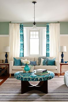 Turquoise Decor for Living Room. Turquoise Decor for Living Room. 5 Friday Coral and Turquoise Decor Turquoise Home Decor, Living Room Turquoise, Colourful Living Room, Paint Colors For Living Room, Turquoise Accents, Turquoise Curtains, Aqua Curtains, Turquoise Bed, Home Decor