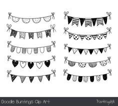 Hand Drawn Bunting Clipart Doodle Bunting Scrapbooking Commercial Use Hand Drawn Garland Invitation Handmade Poster Design - Hand drawn doodle bunting clipart, black and white flag clip art, holiday garland clipart, polka dot - Black And White Flag, Clipart Black And White, Doodle Art Letters, Doodle Lettering, Banner Doodle, Lettering Ideas, Lettering Styles, Lettering Tutorial, Bullet Journal Ideas Pages
